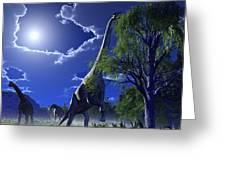 Brachiosaurus Dinosaurs, Artwork Greeting Card by Roger Harris