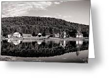 Brant Lake Reflections Black And White Greeting Card