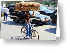 Bread On A Bicycle Greeting Card