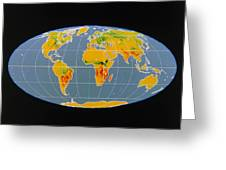 'breathing Earth' Co2 Input/output, Global Map Greeting Card