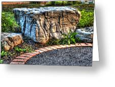 Brenda's Boulder At Dawn Or Altar In The Garden Greeting Card