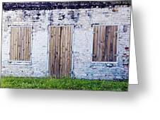 Brick And Wooden Building Greeting Card