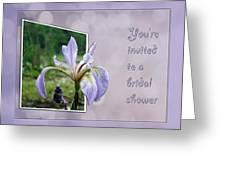 Bridal Shower Invitation - Blue Flag Iris Wildflower Greeting Card