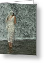 Bride Below Dam Greeting Card