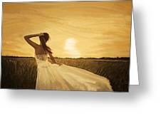 Bride In Yellow Field On Sunset  Greeting Card