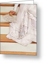 Bride Sitting On Stairs With Lace Fan Greeting Card