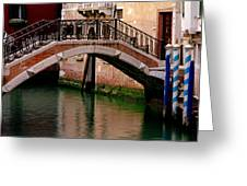 Bridge And Striped Poles Over A Canal In Venice Greeting Card