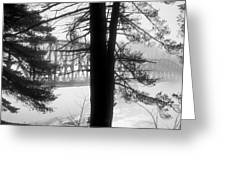 Bridge In The Fog Bw Greeting Card