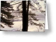 Bridge In The Fog Greeting Card
