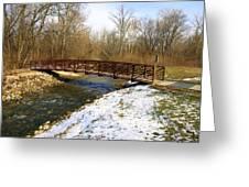 Bridge Over The Creek In Winter Greeting Card