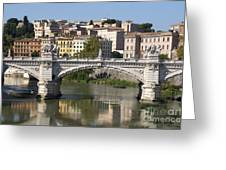 Bridge Ponte Vittorio II. River Tiber.rome Greeting Card by Bernard Jaubert