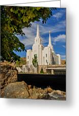 Brigham City Temple Stones Greeting Card