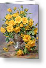 Bright Smile - Roses In A Silver Vase Greeting Card