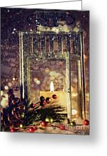 Brightly Lit Lantern In The Snow Greeting Card by Sandra Cunningham