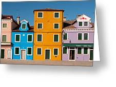 Brightly Painted Houses Of Burano Greeting Card