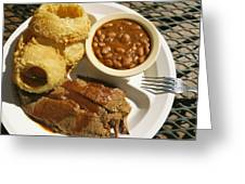 Brisket, Beans, & Rings At Famous Sonny Greeting Card by Richard Nowitz