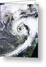 British Isles Storm And Ash Plume, 2011 Greeting Card