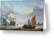 British Man-o'-war Off The Coast Greeting Card