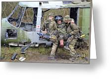 British Soldiers Help A Simulated Greeting Card