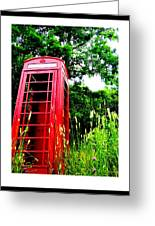 British Telephone Booth In A Field Greeting Card by Kara Ray