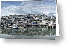 Brixham Harbour - Panorama Greeting Card