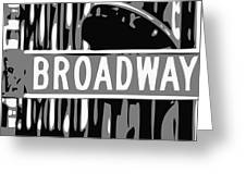 Broadway Sign Color Bw3 Greeting Card
