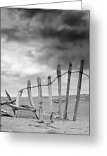 Broken Fence In Dune, South Shields Greeting Card by John Short