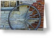 Broken Wagon Wheel Against The Wall Greeting Card