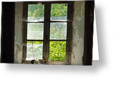 Broken Window. Greeting Card