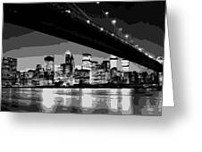 Brooklyn Bridge @ Night Bw8 Greeting Card