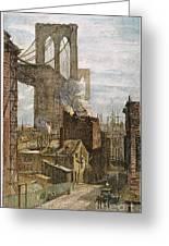 Brooklyn Bridge, 1882 Greeting Card