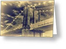 Brooklyn Bridge At Night - Blue Daguerreotype Greeting Card