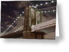 Brooklyn Bridge At Night - Btc-merge Greeting Card