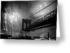 Brooklyn Bridge Fireworks Bw16 Greeting Card