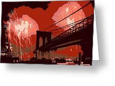 Brooklyn Bridge Fireworks Color 6 Greeting Card