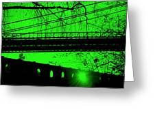 Brooklyn Bridge In Green Greeting Card