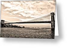 Brooklyn Bridge In Sepia Greeting Card