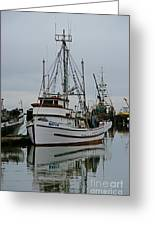 Brown And White Fish Boat Greeting Card