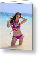 Brunette Model On Beach Greeting Card by Tomas del Amo