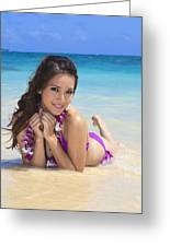 Brunette On Beach Greeting Card by Tomas del Amo