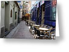 Brussels Side Street Cafe Greeting Card