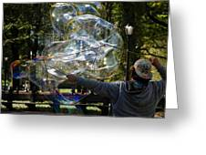 Bubble Blowr Of Central Park Greeting Card