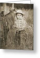 Buckaroo Cowgirl And Horse Greeting Card by Cindy Singleton