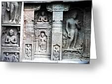 Buddha Carvings At Ajanta Caves Greeting Card