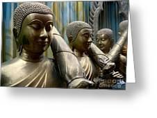 Buddhas With Umbrellas Greeting Card