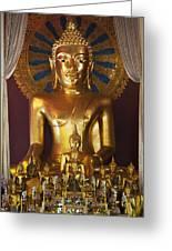 Buddhist Statue In Wat Phra Singh Greeting Card