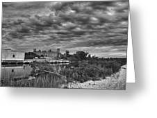 Buffalo Mills Under Clouds Greeting Card