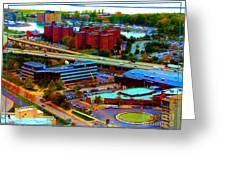 Buffalo New York Aerial View Neon Effect Greeting Card