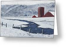 Buffalo River Valley In Snow Greeting Card