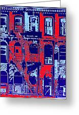 Building Facade In Blue And Red Greeting Card
